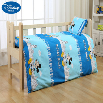 цена на Disney 100% Cotton new Baby Bedding Set Mickey mouse Soft cot duvet Crib Sets kids Cot Set Duvet Cover Pillowcase Flat Sheet