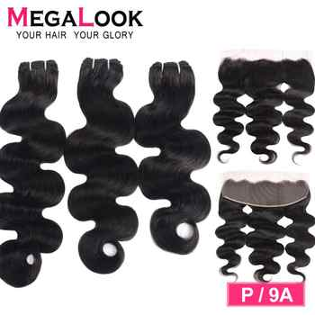 Brazilian Body Wave Bundles With Closure Human Hair Can Make into Wig 100% Remy P/9A Human Hair Weave with Frontal Megalook Hair - DISCOUNT ITEM  49% OFF All Category
