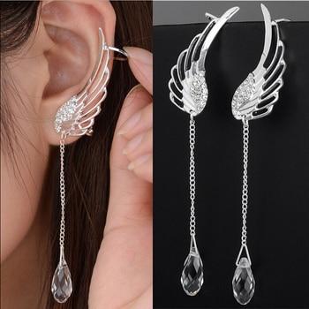 2021 New Silver Plated Angel Wing Stylist Crystal Earrings Drop Dangle Ear Stud For Women Long Cuff Earring Bohemia Jewelrys 1