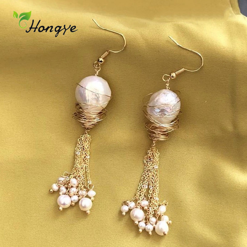 Luxury Women Natural Freshwater Pearl Earrings Handmade Creative Anniversary Ear Jewelry Gift Hanging Earrings Silver 925 Brinco