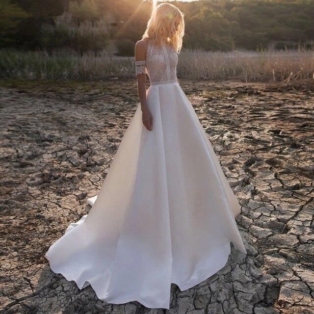 Bohemian Wedding Dress 2021 SummerOff-Shoulder Boho Beach Bride Dress A-Line Robe De Mariee Vintage Lace Princess Wedding Gown 2