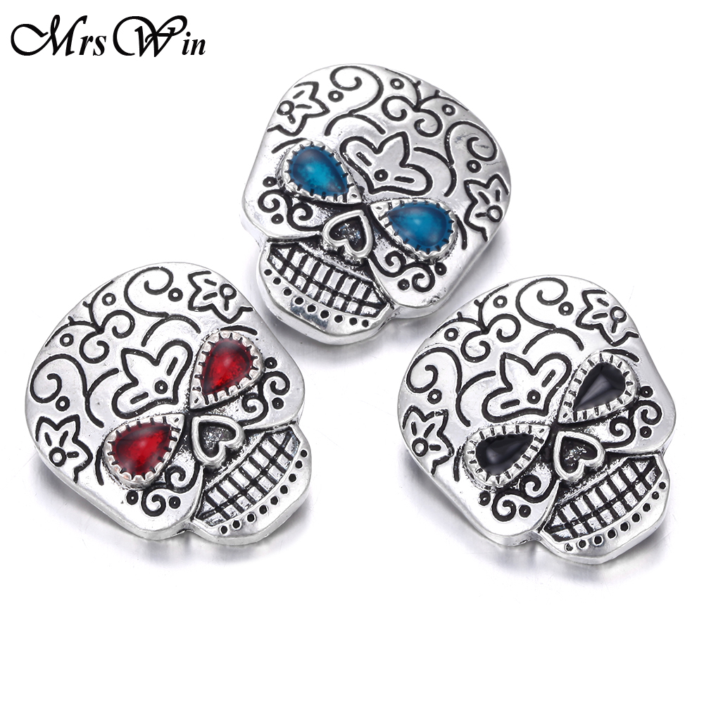 6pcs/lot New 18mm Snap Jewelry Vintage Skull Metal Snap Buttons for Snap Button Jewellery Fit Snaps Bracelet for Women Men