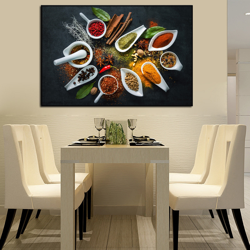 Modern Kitchen Decor Paintings Herbs And Spices Canvas Wall Art Seasoning Food Painting Pictures Dinning Room Decorative Posters Best Offer 9fda Cicig