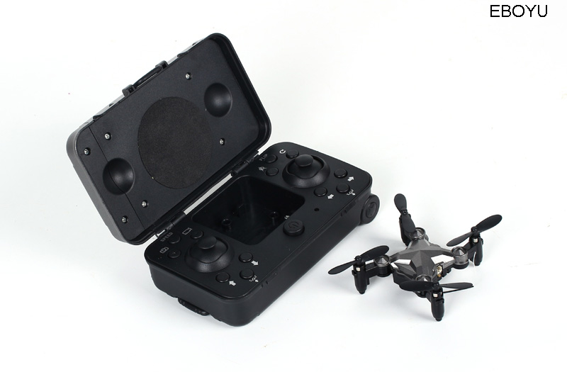 EBOYU DH120 2.4G 4CH 0.3MP WIFI FPV Camera Portable Drone RC Quadcopter Suitcase Style Mini RC UFO Pocket Drone for Kids RTF