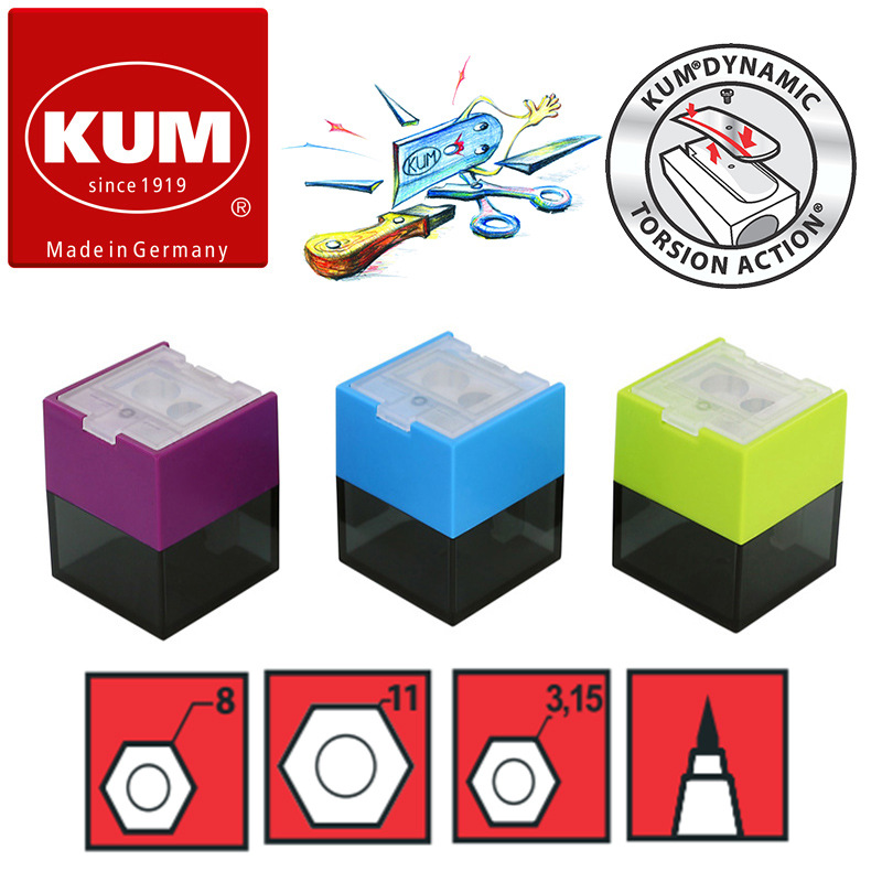 1pc Germany KUM CUB3 Bioplastic Three-hole Multifunctional Pencil Sharpener Blue Ocean For 8/11mm Pencil 3.2mm Mechanical Pencil