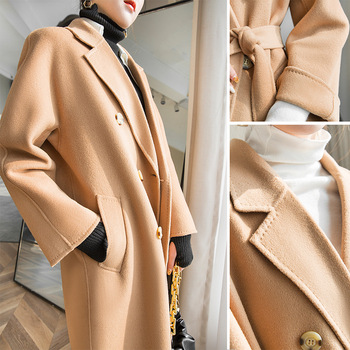 New Winter Wool Coat Women Long Blends Trench Coat European American Classics Double Breasted Solid Color Fleece Jackets Female fashion women wool coat plaid classics female loose long single breasted coats 2020 autumn winter jackets trench outerwear