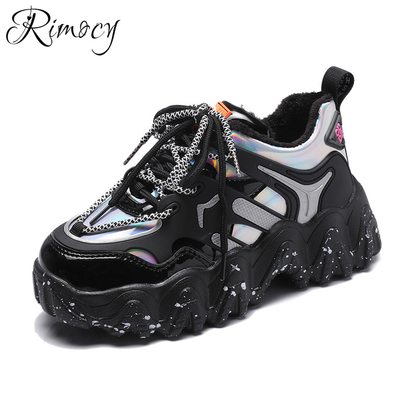 Rimocy Mix Color Punk Chunky Sneakers Women Spring 2020 New Patent Leather Platform Vulcanize Shoes Woman High Street Trainers
