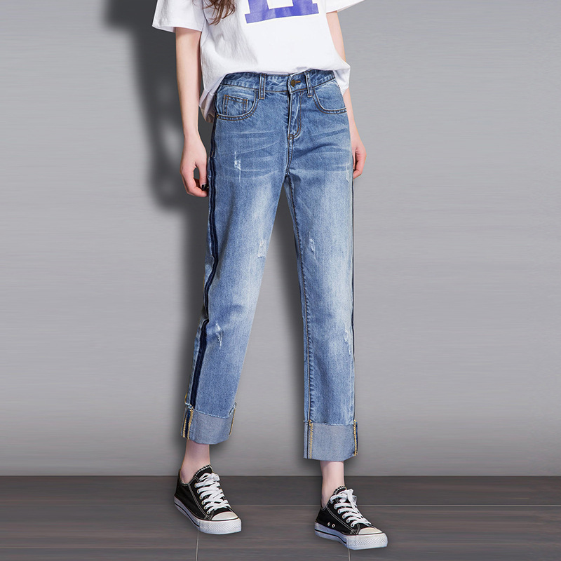 2019 Autumn New Style Korean-style Revers Straight-Cut Jeans Student Ripped Jeans Loose-Fit With Holes Denim (Ankle-length Pants