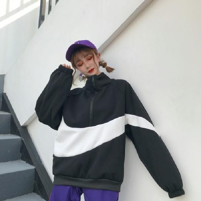 Hooded Pullover Tops Autumn Winter Color Block Women Hoodies Zipper Loose Long Sleeve Sweatshirts Ladies Workout Tops For Women