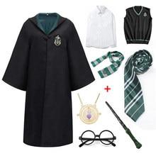 Халат Слизерина Поттера для детей и взрослых, накидка, костюм для детей, Женская Волшебная школьная форма, костюм волшебника для косплея, ко...