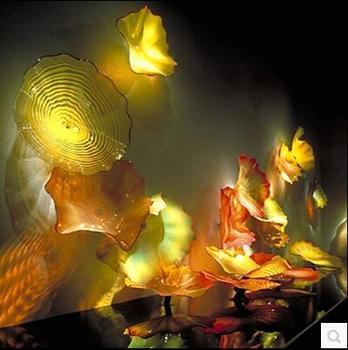 Bắt mắt Thời Trang Lạ Mắt Thổi Thủy Tinh Murano Tường Tấm Nghệ Thuật Phổ Biến Trang Trí Thổi Thủy Tinh Màu Vàng Treo Tường Tấm cho Trang Trí Nhà