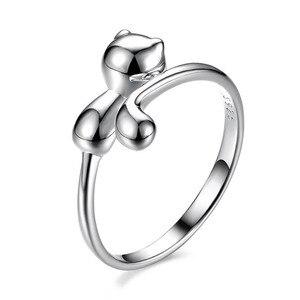 Image 5 - Bague Ringen 100% Reale 925 Sterling Silver Ring Animale di Figura del Gatto Anello In Argento Bello Sveglio Dei Monili Della Signora per la Datazione