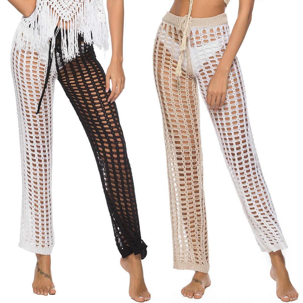 Tığ örme geniş bacak gevşek iki renkli tatil plaj Bikini Cover Up Out kadınlar pantolon parti kulübü See Through mayo