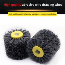 Escova elétrica da roda de polimento do cilindro do fio abrasivo de náilon para trabalhar metais p80/120/180/240/320/600 quente novo