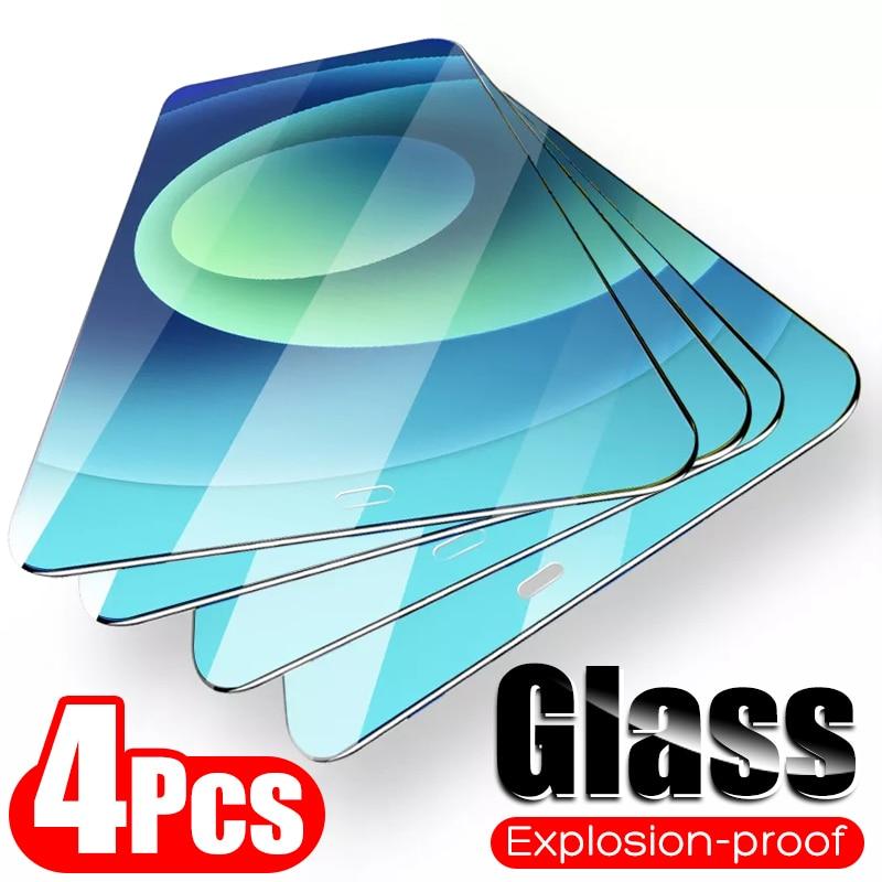 4 шт полное покрытие стекло на iPhone 11 12 Pro Max закаленное стекло для iPhone X XR Xs Max 7 8 6 Plus 12 Pro защита экрана