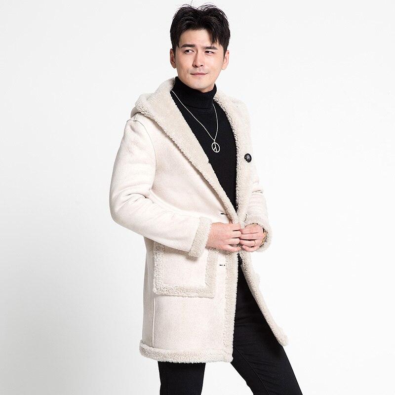 100% Wool Coat Winter Jacket Men Sheep Shearling Fur Coats Double-side Wear Leather Jackets Veste Homme MC18C167 MY1261