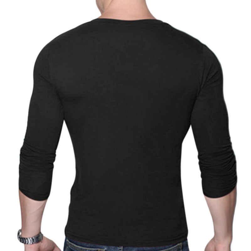 Basict Kemeja Pria Vintage Lengan Panjang Warna Solid Otot Cocok Tshirts Pria Top Tee V Leher Kasual Slim Fit T-shirt tee Top