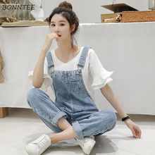 Denim Jumpsuits Women Spring Basic Washed Blue Overalls Outwear Office Lady Womens Elegant Long Trouser Rompers Female Casual
