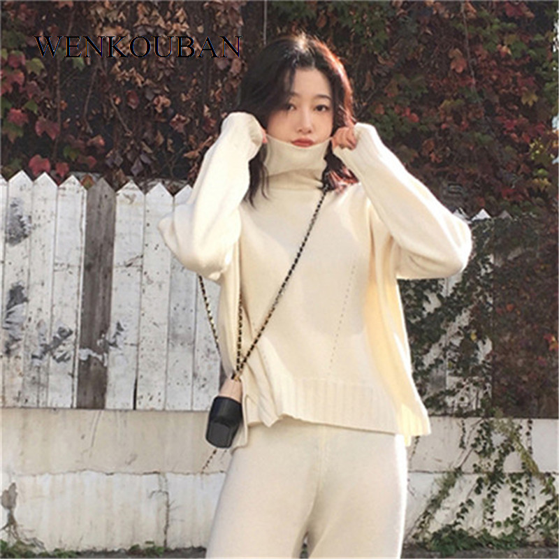2 Pieces Set Women Winter Autumn Knitted Tracksuit Turtleneck Sweater Knit Pants For Women Suit Clothing Conjuntos De Mujer