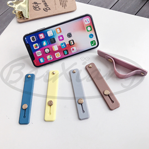 Image 2 - Plain Color Wrist Band Hand Band Finger Grip Mobile Phone Holder Stand Push Pull Universal Phone Socket Holder For Iphone