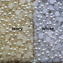 цена на Ivory/White Half Round Imitation Pearl Beads 3-20mm Acrylic Flatback Loose Beads for Jewelry Making Diy Crafts Decoration
