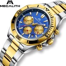 MEGALITH 2019 New Mens Watch Business Chronograph Waterproof Quartz Stainless Steel Wrist watch Man Relogio Masculino 8206