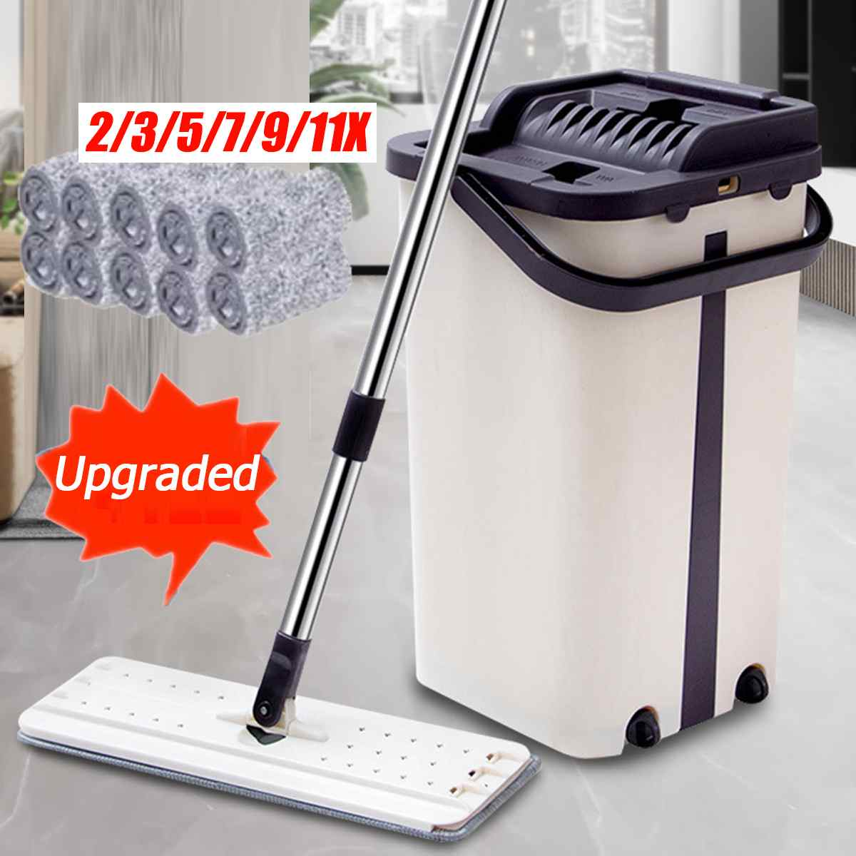 Hand Free Wringing Flat Squeeze Mop And Bucket Magic Automatic Spin Home Kitchen Wooden Floor Lazy Cleaning Mop With Pads
