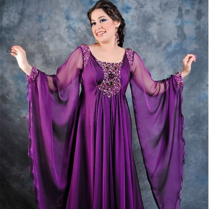 Vintage Long Sleeves Beaded Chiffon Beaded Vestido De Festa Caftan Purple Muslim Evening Gown 2018 Mother Of The Bride Dresses