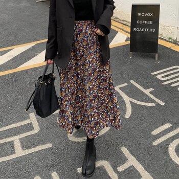 цена на floral print women skirt High waist spring summer female midi skirts Holiday ladies skirts bottoms 2020
