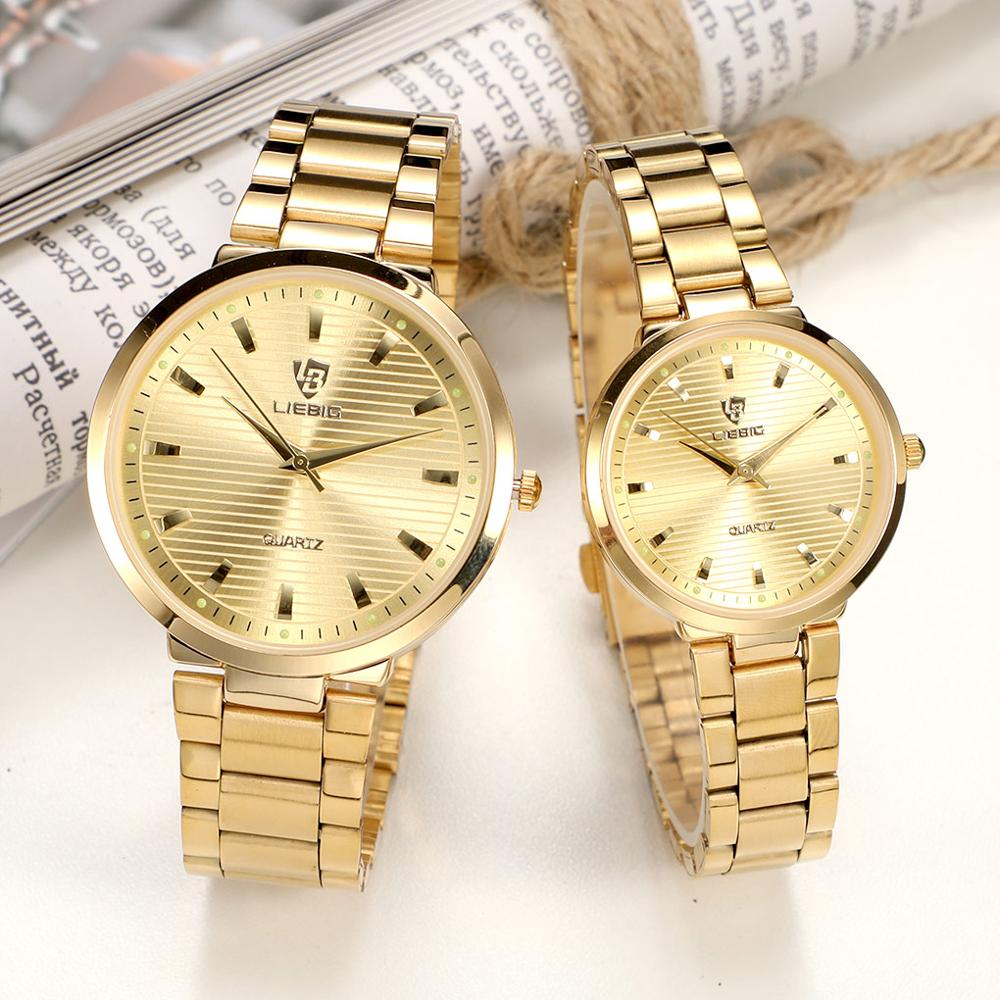 Waterproof Men's Watches Couple Golden Watch Simple Women Watches High Quality Full Stainless Steel Adjustable Strap Reloj L1012