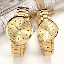 Waterproof Men's Watches Couple Golden Wristwatch Simple Women High Quality Full Stainless Steel Strap Brand Clock Reloj L1012