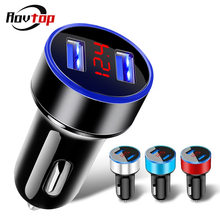 Rovtop Fast Universal Dual USB Car Charger Adapter จอแสดงผล LED 5V 3.1A Auto ABS รถ USB Charger สำหรับ iPhone Huawei Z2(China)