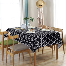 Simple Tablecloths 100% Cotton Nordic Soft Black White Triangle Table Cloth Modern Geometric Cover Home Hotel Decorative