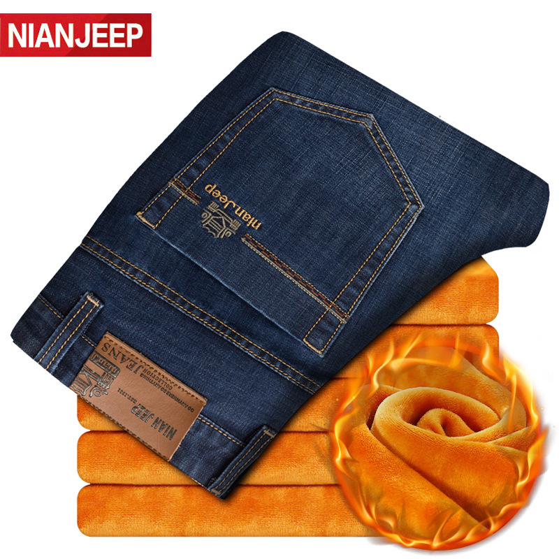 NIAN JEEP Mens   Jeans   Brand Winter Fleece Warm   Jeans   Men Denim Male   Jeans   Smart Casual Cotton Straight   Jeans   Homme Size 28-42