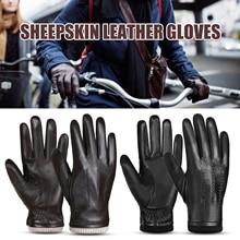 Guantes de Ciclismo de piel de oveja para hombre, guantes de cuero para deportes al aire libre, cálidos guantes de lana forrados Vintage de uso diario para conducir