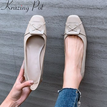 superstar 2020 cow leather round toe med heel women pumps slip on shallow comfortable concise office lady spring lazy shoes L13