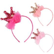 2019 New Girl Headband Crown Sequin Hair Band Children Birthday Party Gift Decoration Accessories