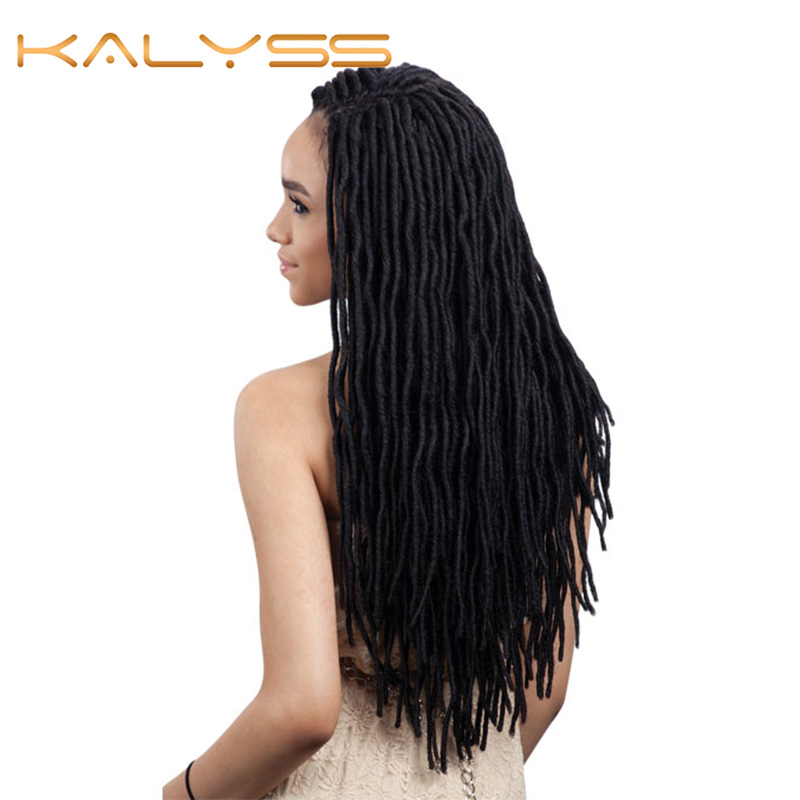 """Kalyss 30"""" Swiss Lace Front Side Parted Dread Faux Locs Braided Wigs With Baby Hair For Dark Skin Women Japan-made Lightweight S"""