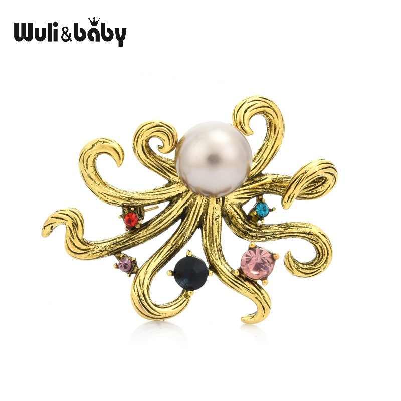 Wuli e del bambino Della Perla Dell'annata Octopus Pesce Spille Donne 2-color Sea Animale Casual Partito Spilla Spilli Regali