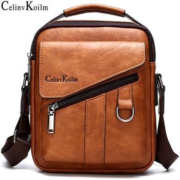 Celinv Koilm Luxury Brand New Men Bags Fashion Business Crossbody Shoulder Bag For Male Split Leather Messenger Tote Bag Travel