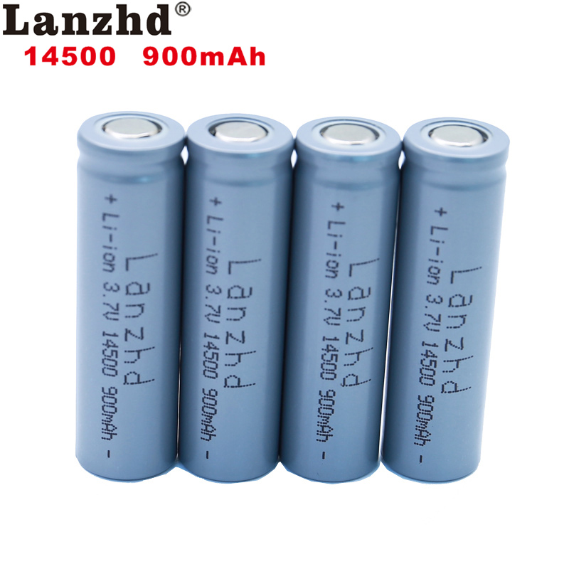 4pcs <font><b>14500</b></font> 900mAh <font><b>3.7V</b></font> <font><b>Li</b></font>-<font><b>ion</b></font> Rechargeable Batteries AA Battery <font><b>14500</b></font> Lithium Cell for Led Flashlight Headlamps Torch Mouse image