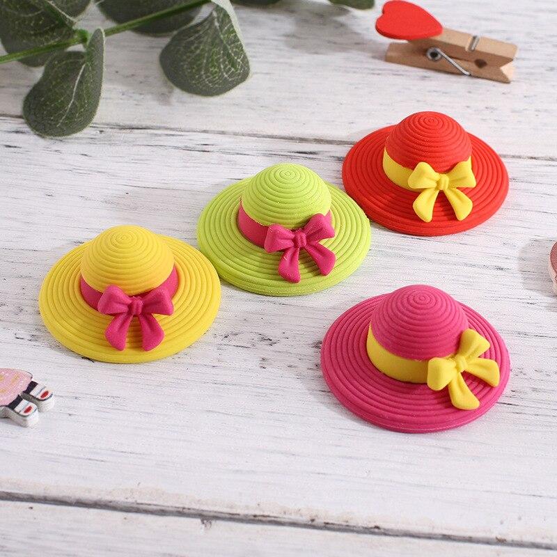 Cute Girls Hat Eraser Creative School Eraser For Kids As Teacher Prize 4pcs / Lot