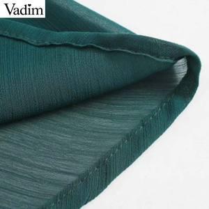 Image 4 - Vadim 女性シックなシフォングリーンミディドレス長袖弾性ウエスト女性のスタイリッシュなシックなソリッドドレス vestidos QD138