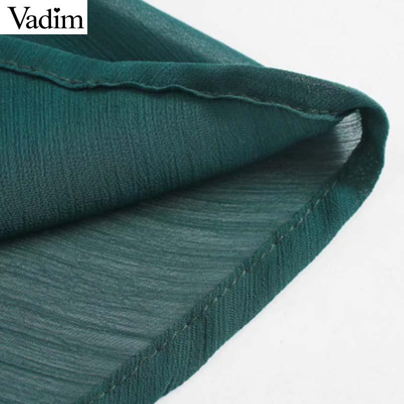 Image 4 - Vadim women chic chiffon green midi dress long sleeve elastic waist see through female stylish chic solid dresses vestidos QD138Dresses   -