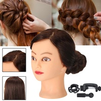 60cm 24inch 70% Real Human Hair Professional Miniatures Head Mannequin Salon Head Practice Hairdressing with Clamp Stand