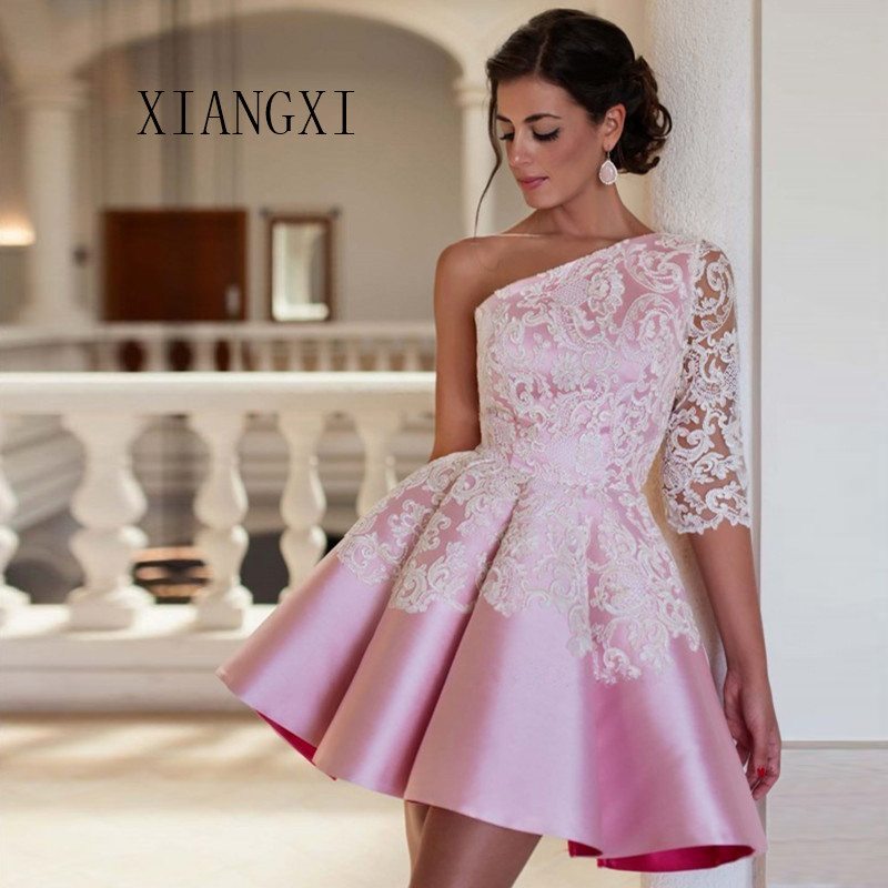 Ball Gown One Shoulder Prom Dress Robe De Soiree Pink Evening Party Dress Sexy Short Prom Dresses 2020