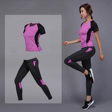 5 kolorów damska odzież sportowa zestaw do jogi zestaw sportowy Fitness zestaw gimnastyczny do biegania koszulka do gry w tenisa + spodnie joga legginsy Jogging komplet treningowy tanie tanio CN (pochodzenie) Bawełna organiczna WOMEN Yoga Pasuje prawda na wymiar weź swój normalny rozmiar Drukuj Anty-pilling
