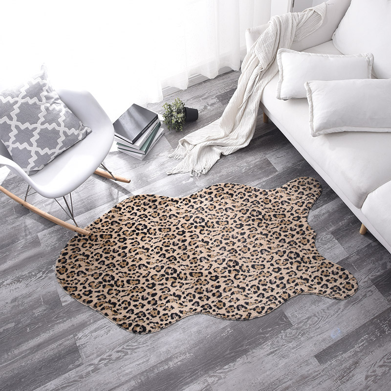 Cowhide Faux Skin Leopard Cow Printed Short Faux Fur Rugs And Carpets For Home Living Room  Christmas Rug Home Decoration