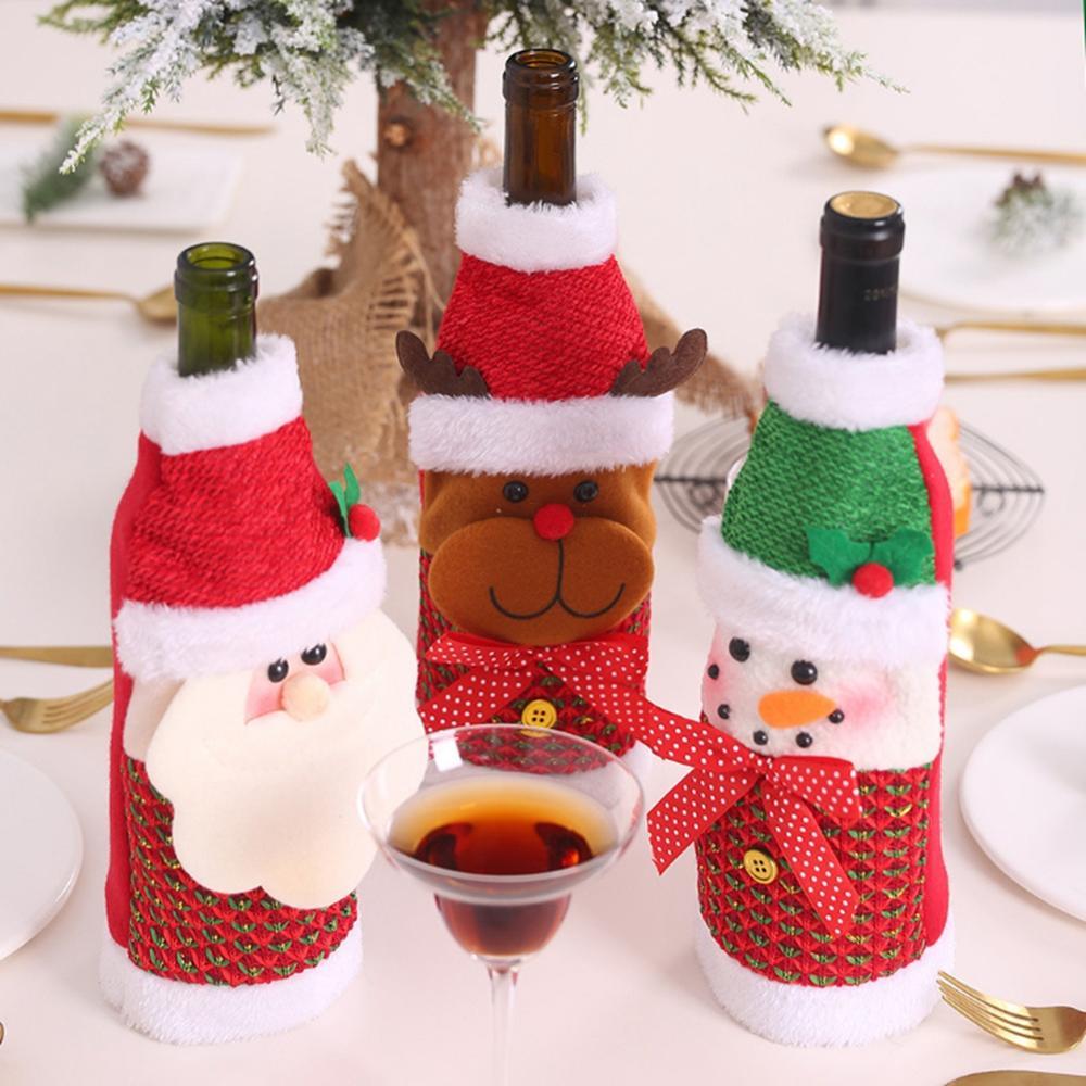 Festive Dinner Decoration Wine Hat Xmas Bag Holder Christmas Bottle Cover