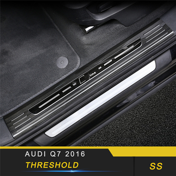 For Audi Q7 4M 2016-2018 Car Styling Door Threshold Sill Scuff Plate Guard Welcome Pedal Stickers Exterior Accessories